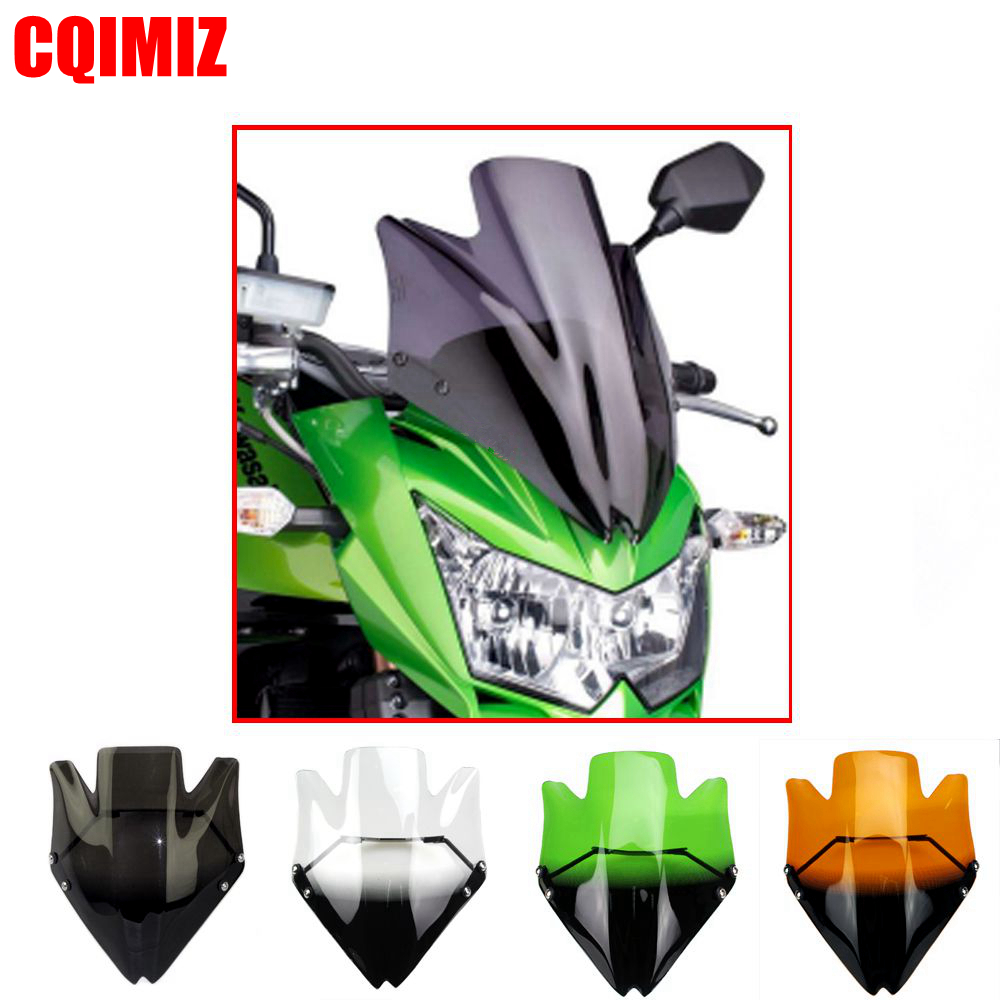 Motorcycle Black Wind Deflector Windshield For Kawasaki Z750 Z750R 2007 2012 Clear Green Orange Smoke Windscreen