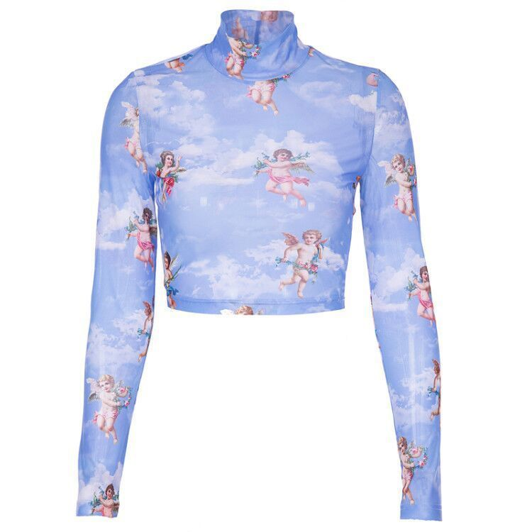 New Fashion Women See-through Sheer Mesh Fishnet T-Shirt Fashion Top Cute Angel Printed Female Summer Mesh Tops 16