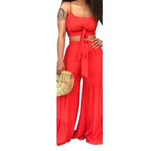 Solid Women Summer Casual Two Piece Set Front Tie Spaghetti Straps Crop Top And Wide Leg Pants Beach Suit Outfits random floral print tie front two piece outfits in blue