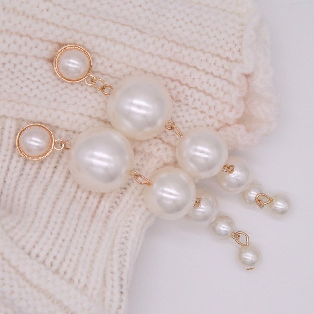 Trendy Elegant Created Big Simulated Pearl Long Earrings Pearls String Statement Drop Earrings For Wedding Party Gift e0207 3