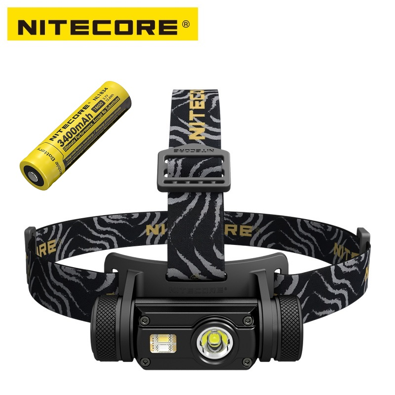 Nitecore hc65 led lanterna cree XM-L2 u2 + cri led vermelho 1000lm usb recarregável farol com 1pc 3400mah 18650 bateria