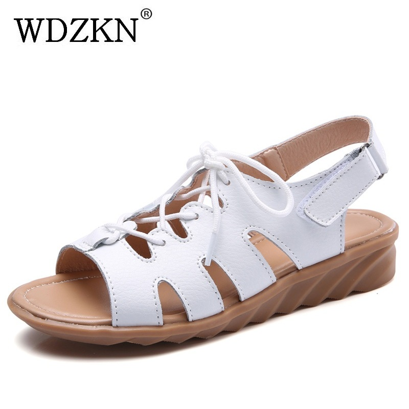 WDZKN 2018 Hollow Out Genuine Leather Gladiator Sandals Women Low Wedge Sandals Peep Toe Summer Ladies Shoes Sandalia Gladiadora trendy women s sandals with hollow out and peep toe design