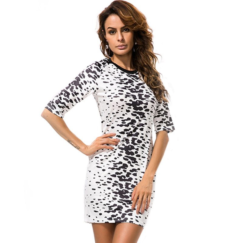 2017 Summer Sexy Leopard Half Sleeve O-neck Bodycon Dress Women Work Casual Bandage Dress Black White Short Dresses Female 4165