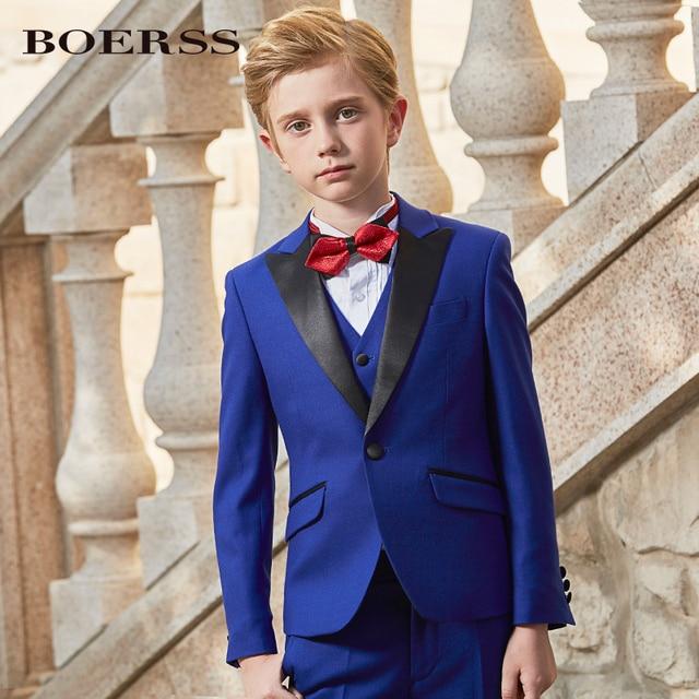 4384adb3b 2018 red blue Men suits kids boy Suit Slim Fit Tuxedo 3 Pieces Blazer wedding  dress son suits jacket pant vest tie