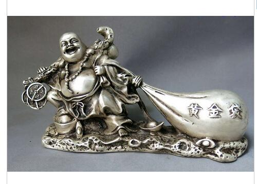 decoration copper silver factory China silver Tibet copper  buddhism lucky gold bag Yuan bao happy buddha Statue