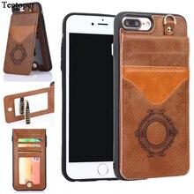 Трюмо слот для карты Wallet Case для iPhone 7 6 6S 7 плюс Роскошный Ретро искусственная кожа Обложка для iPhone 7 6S Plus принципиально