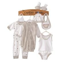 Yenidoğan Bebek 0-3 m Giyim Seti Erkek Bebek / Kız Giysileri% 100% Pamuklu Iç Çamaşırı (8 adet / takım) Erkek Bebek Giysileri