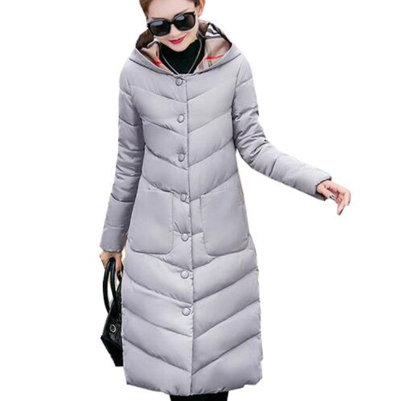 2017 Winter Women Long Hooded Cotton Coat Plus Size Padded Parkas Outerwear Thick Basic Jacket Casual Warm Cotton Coats PW1003 jolintsai winter jacket women mid long hooded parkas mujer thick cotton padded coats casual slim winter coat women