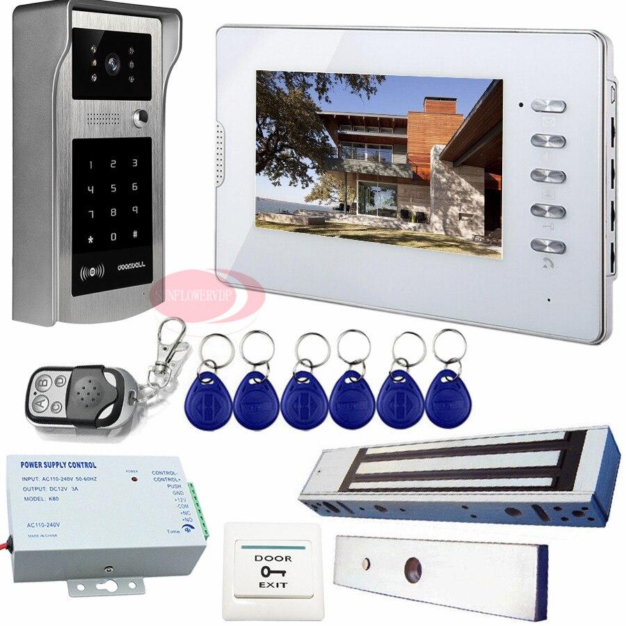 Home Security 7 pouce TFT LCD Porte Téléphone Système Vidéo Interphone Avec Électrique Magnétique Serrure De Porte Rfid/Mot de Passe De Déverrouillage Kit