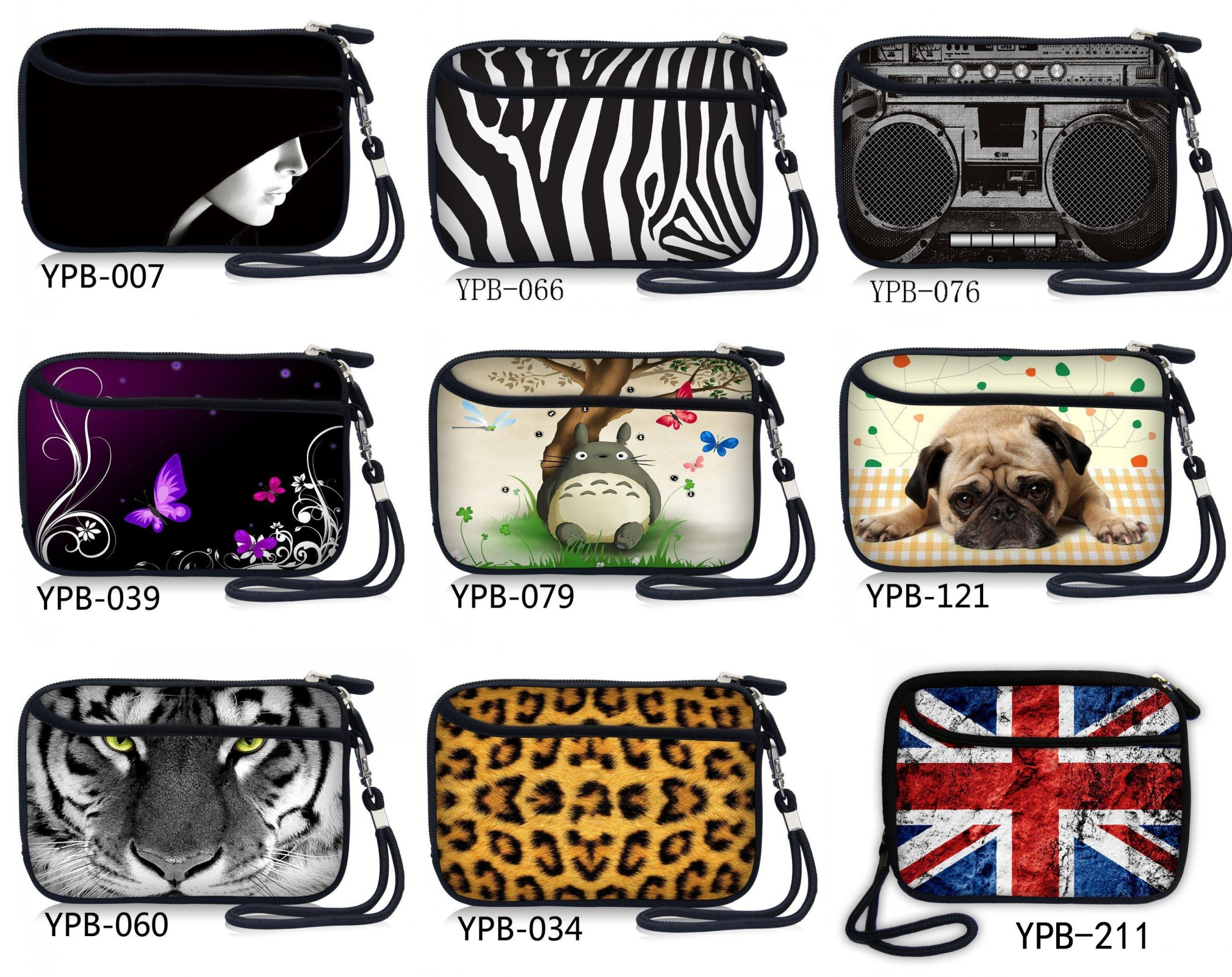 "Neoprene Hand Carry hard Disk Bag Case Cover Compartments for 2.5"" HDD Hard Disk,Mobile Power bank Bag w/ Pocket,Strap"