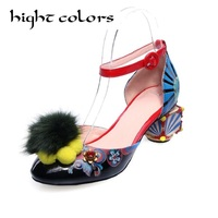 Fashion Big Size Abnormal Heels Hook Loop Art Fur Ball Decoration Heels European Sandals For Women Luxury Party Dress Shoes