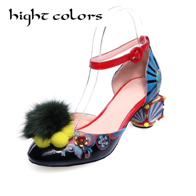 fashion big size abnormal heels hook loop art fur ball decoration heels European sandals for women luxury party dress shoes abnormal psychology 4e