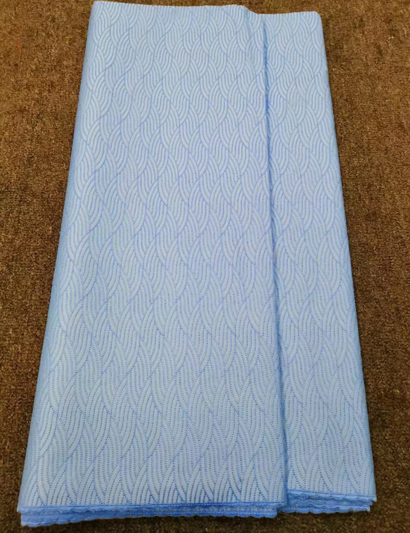 Free shipping 5yards pc high quality Swiss lace fabric skyblue African polish cotton lace fabric for