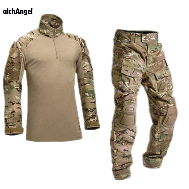 """AichAngeI טקטי הסוואה מדי צבא בגדי חליפת גברים בארה""""ב צבא צבאי בגדי Combat חולצה + מכנסיים מטען הברך רפידות"""