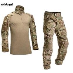 AichAngeI Tático Uniforme Militar de Camuflagem Roupas Terno Homens Do Exército DOS EUA roupas Shirt + Calças de Carga Combate Militar Joelheiras