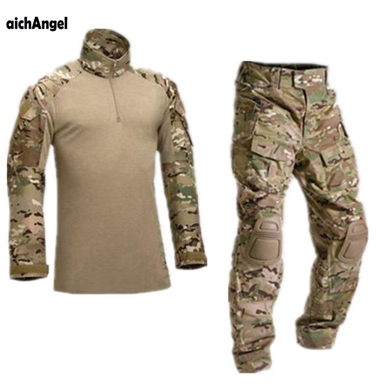 AichAngeI Taktische Tarnung Uniform Kleidung Anzug Männer UNS Armee kleidung Military Combat Shirt + Cargo Hosen Knie Pads