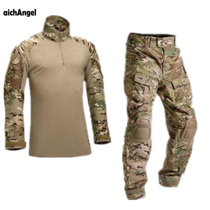 AichAngeI тактический камуфляж военная форма Одежда Костюм Для мужчин армии США одежда рубашка в армейском стиле + штаны-карго наколенники