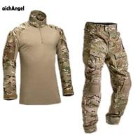 aichAngeI Tactical Camouflage Military Uniform Clothes Suit Men US Army clothes Military Combat Shirt + Cargo Pants Knee Pads