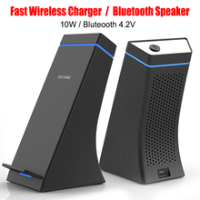 3 in 1 Bluetooth Speakers Wireless Fast Charger 2.0 Portable Speaker Desktop Vertical Phone Holder Cold Fan For iPhone Android