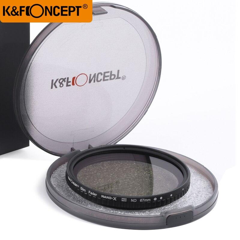 K & F CONCEPT 52/58/62/67/72/77/82mm Fader ND filtre Densité Neutre Variable Filtre ND2 à ND32 pour Caméra objectif N °
