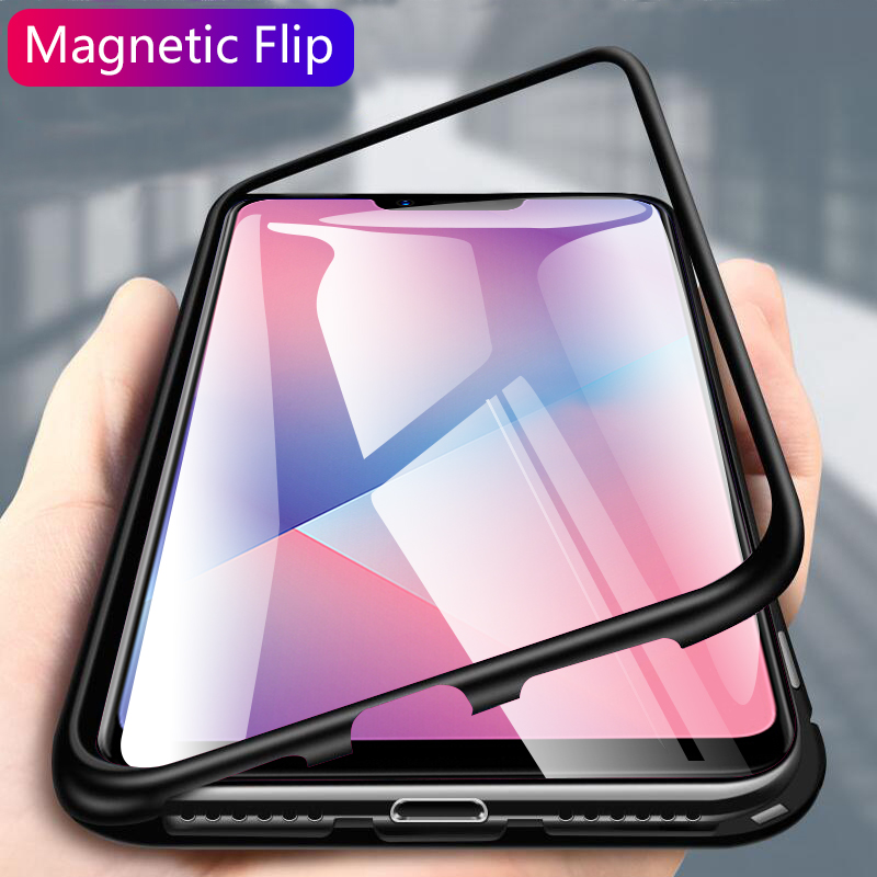 360 Full Protective Magnet Case On The For OPPO A3S Phone Case Shockproof Glass Back Cover Case For OPPO A5 protective case