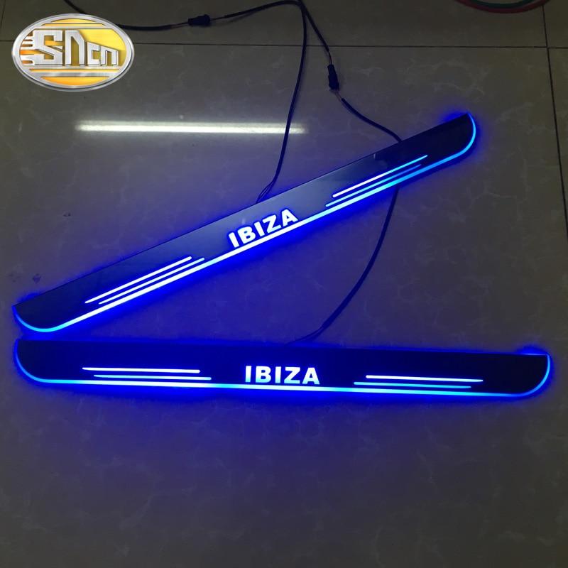 Personnalisé 4 pièces mobile LED bienvenue pédale voiture seuil de pédale seuil porte seuil voie lumière pour SEAT IBIZA 2009-2017 2018