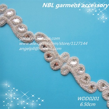 10 yards wholesale bridal beaded applique iron on crystal galss rhinestone  trim for wedding dress WDD0201