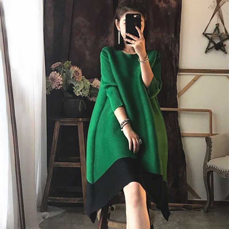 Lanmrem 2020 New Spring Fashion Tide Hitam Pleated Turtleneck Patchwork Memukul Warna Tiga Kuartal Lengan Wanita Gaun SA568