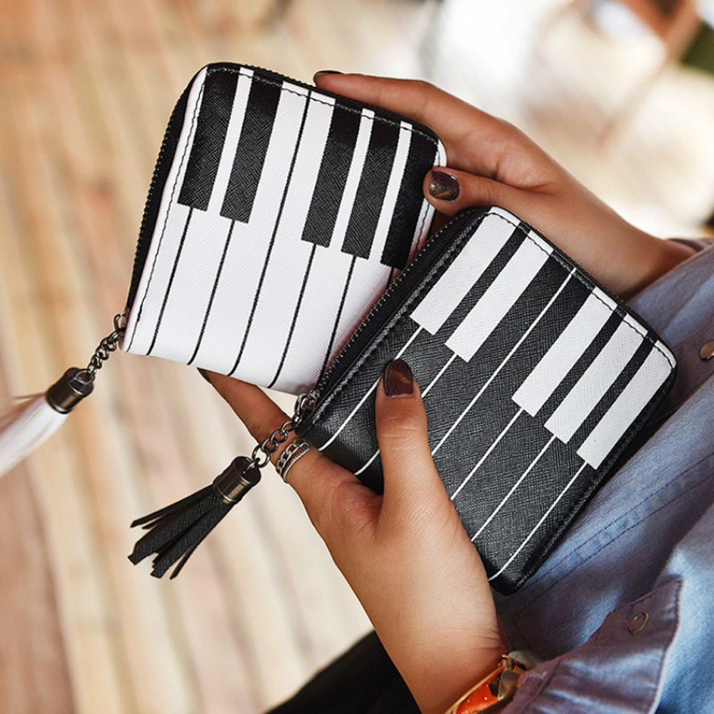 Musical Piano Keyboard Women Purse Card Bag Creative Piano Pattern Pocket Money Bags Zip Small Short Wallet Cosmetic Bag N creative piano key birds pattern square shape flax pillowslip without pillow inner