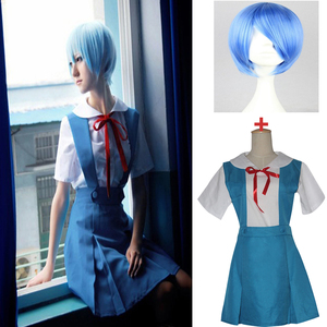 Image 1 - 4 pièces/ensemble dame Halloween Cosplay Asuka Langley Soryu Tokyo Ayanami Rei Halloween Cosplay Costume école uniforme perruque livraison gratuite