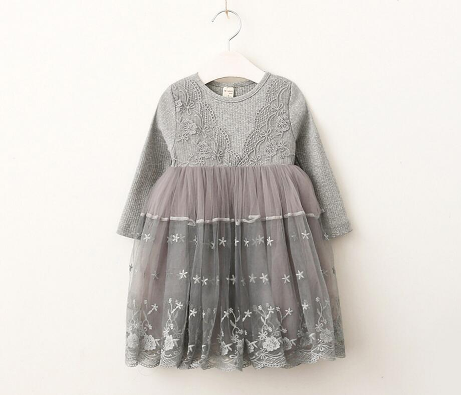 New Autumn Baby Girls Cotton Lace Mesh Long Sleeve Dresses, Princess Kids Fashion Pink Grey Dress Wholesale 5 pcs/lot,