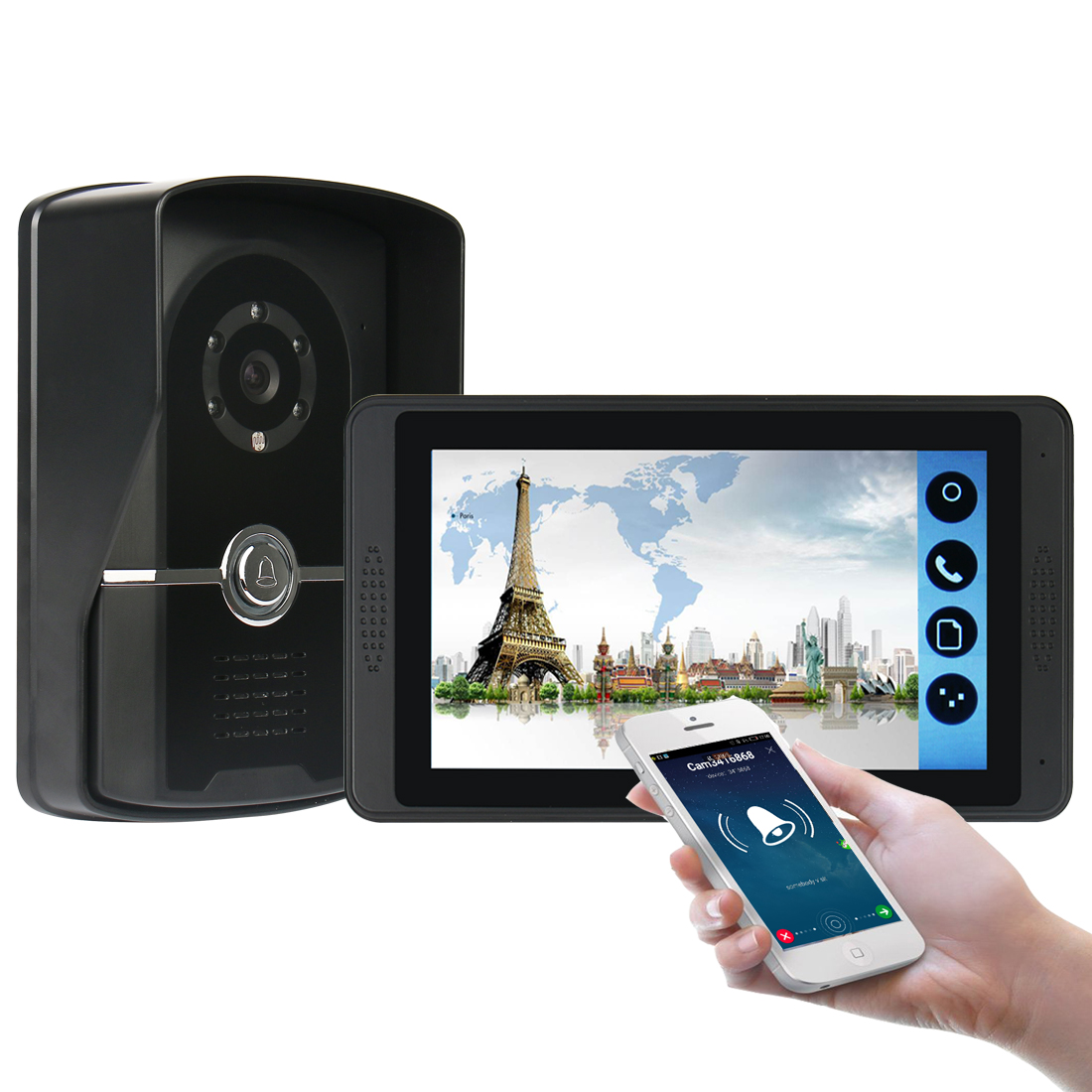 SmartYIBA Smart House Video Intercom One To One Video Doorphone 1000TVL Outdoor Camera With IR Lights Mobile APP Remote Unlock