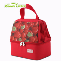 KinNet Thermal Bag Double Layers Insulated Cooler Bag Red Oxford Shoulder Bag For Lunch Large Lunch
