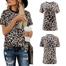 T-shirt female short-sleeved Summer new womens leopard Tshirt top Casual Streetwear