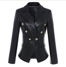 Flying ROC winter jacket women long sleeve V-neck coats and jackets leather  coat