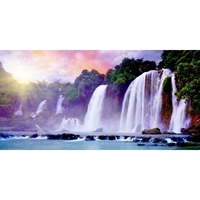 YTG New Cross Stitch Waterfall Landscape 5D DIY Diamond Painting Needlework Embroidery Round Rhinestone Room Decor