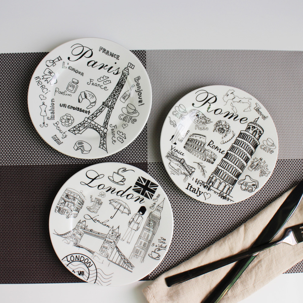 6 inch/8 inch Western European Flat Landscape Plates Porcelain Bone China Dinner Plate Tableware Ceramic Salad Cake Dish New