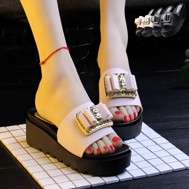 cartoon hat decoration platform sandals women bowtie gladiator sandalias summer wedges shoes woman high heels slippers slidey446