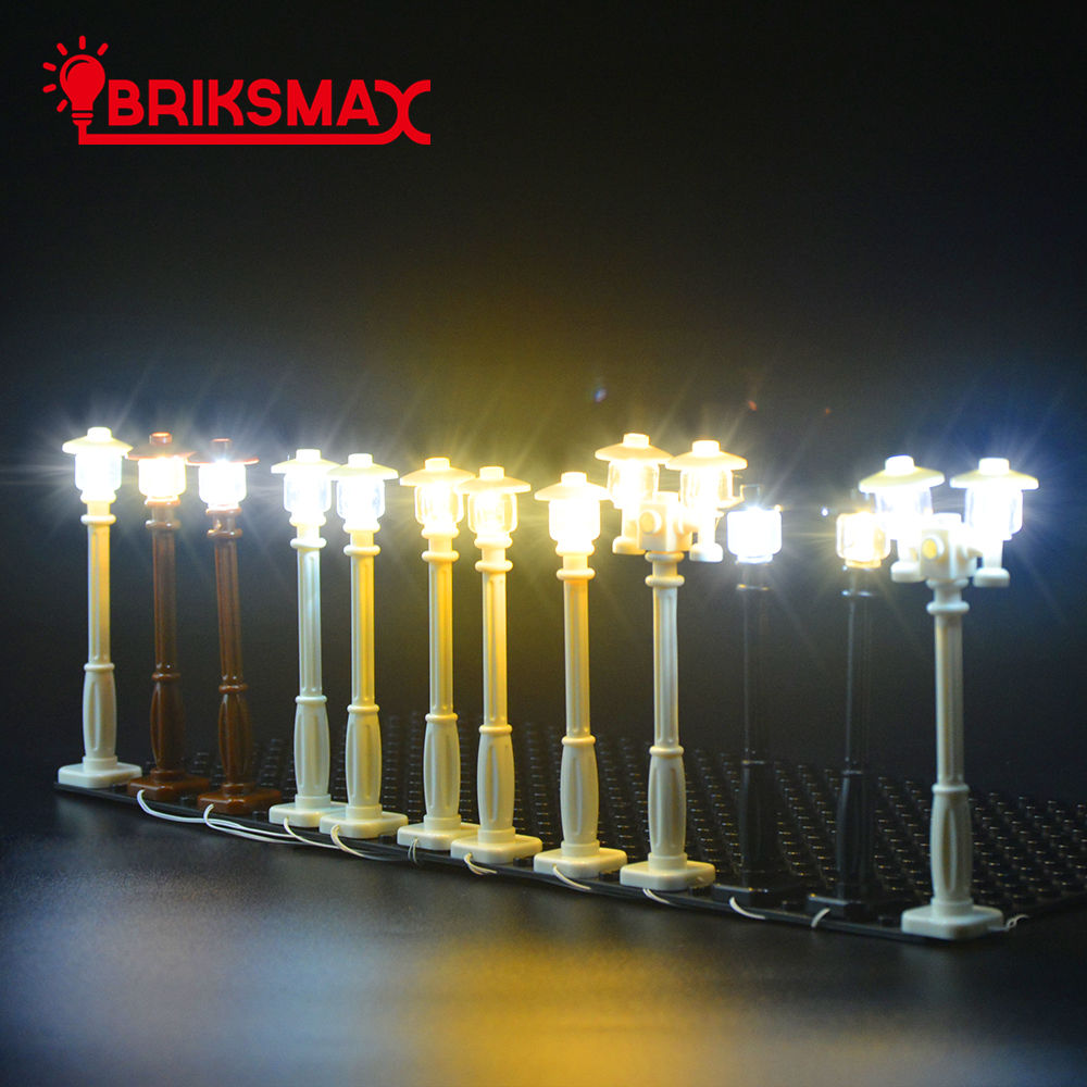 BRIKSMAX LED Street Lights Set Boleh Hiaskan Semua Blok Bangunan Mainan City Series Blocks Bricks Toy For Kids Hadiah Krismas