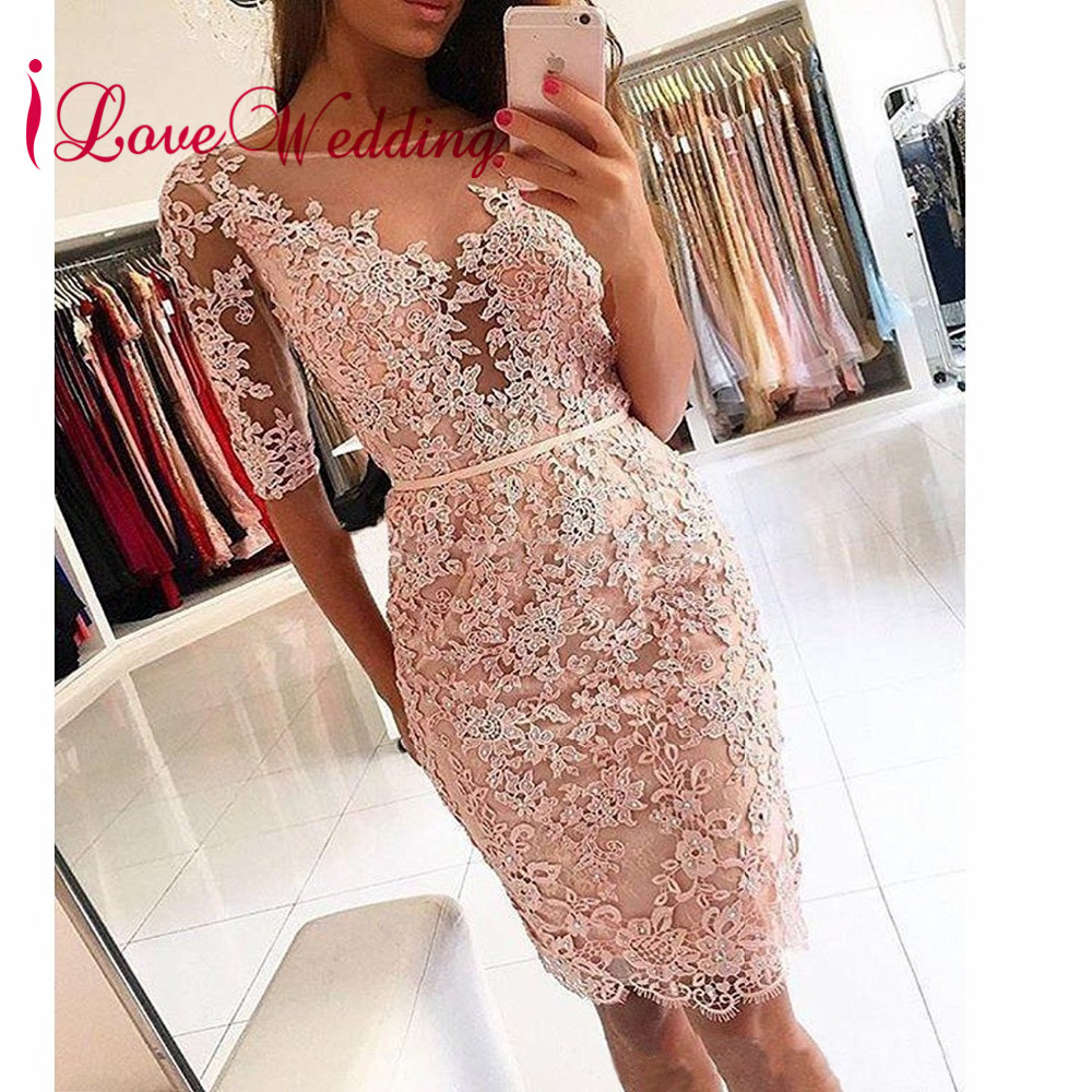 2019 Robe   Cocktail   Sexy Sheer Neck Lace Applique Beaded Custom made Knee Length Half Sleeves   Cocktail     Dresses
