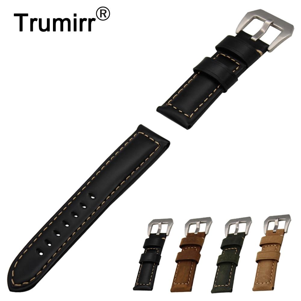 22mm 24mm Italian Calf Genuine Leather Watch Band for Breitling Stainless Steel Buckle Strap Wrist Belt Bracelet Black Brown 22mm 24mm black mens genuine leather watch strap band