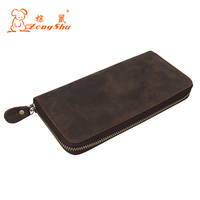 Genuine Crazy Horse Cowhide Leather Men Wallets Fashion Purse With Card Holder Vintage Long Wallet Clutch