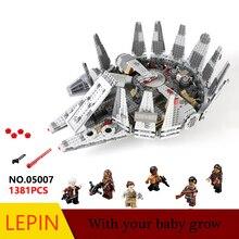 Горячие Строительные Блоки Лепин Звездные войны Millenn 05007 Обучающие Игрушки Для Детей Подарок на день рождения Коллекция Декомпрессии игрушки Legoed