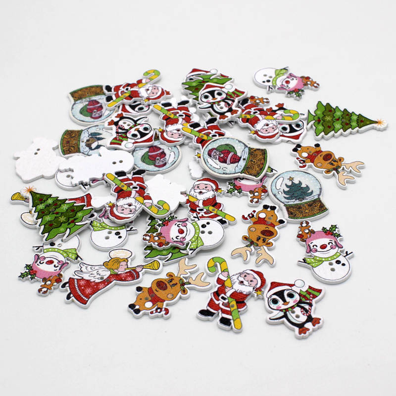 50pcs lot Random Mixed Color Christmas series 2 Holes Wood Painting Sewing Buttons for Craft Sewing Supplies Scrapbooking in Buttons from Home Garden