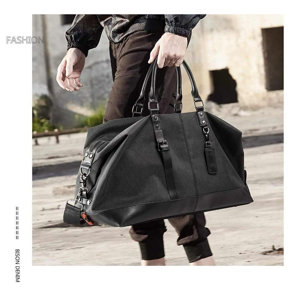 BISON джинсовая дорожная сумка большой емкости для мужчин ручной багаж дорожные сумки нейлоновые сумки для выходных многофункциональные дорожные сумки N5091