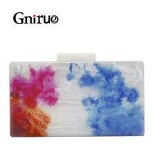 Bolsa clutch de acrílico feminina, bolsa elegante de acrílico com estampa colorida para mármore, para festas, baile, casamento, bolsa de mão