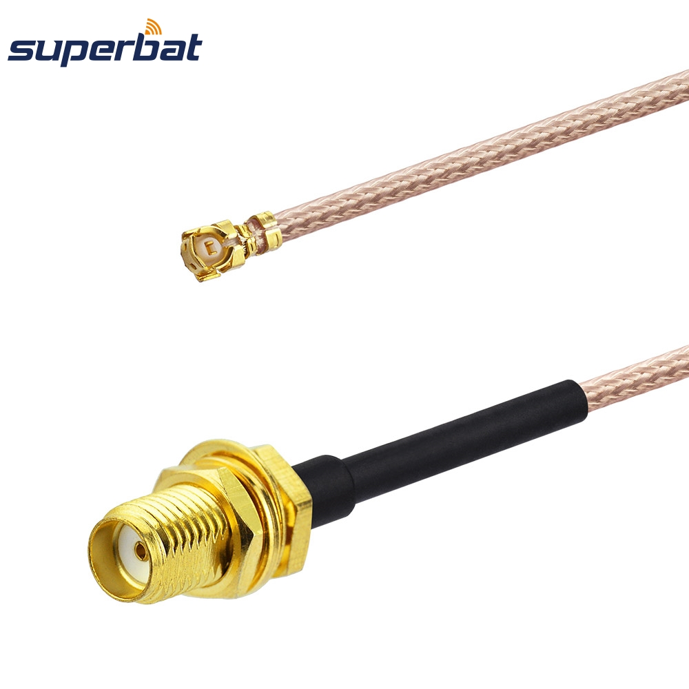 Superbat IPX/U.Fl To SMA Jack Female Bulkhead Pigtail Coax Extension RF Cable Assembly RG178 10cm For Wifi Mini-PCI