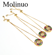 Molinuo Exquisite Gold Color Micro Pave Rainbow CZ Cubic Zirconia A-Z Initials Letter bracelet For Women Fine Jewelry 2019