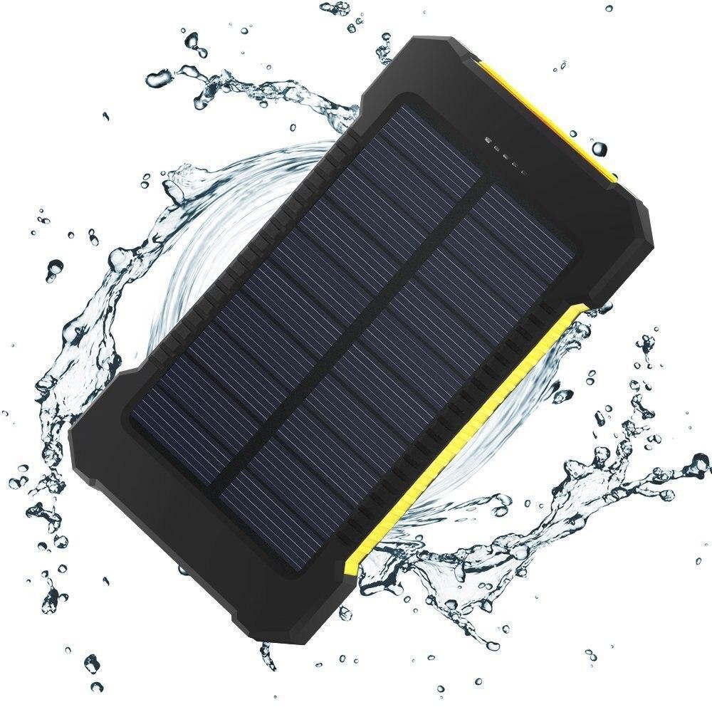 Wasserdichte Solarenergienbank Echt 20000 mAh Dual USB Externe Polymer-akku-ladegerät Außenleuchte Power Ferisi