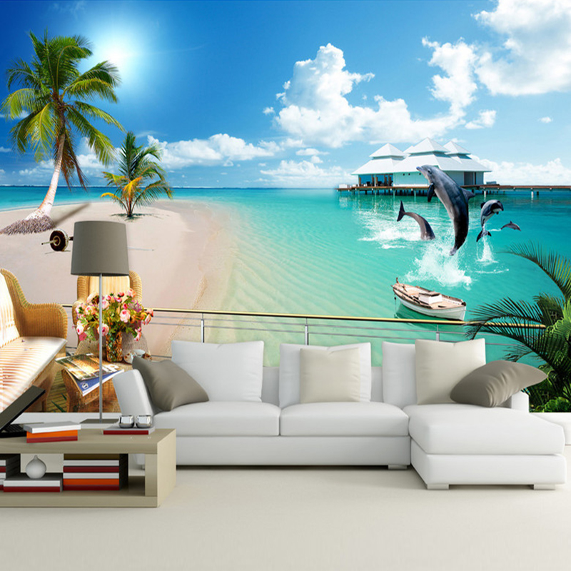 Custom 3d Photo Wallpaper Mediterranean Beach Large Wall Murals